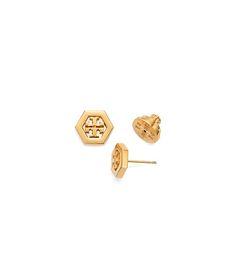 Tory Burch Hex-logo Stud Earring