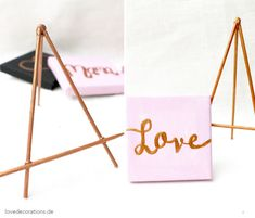 DIY Tischkartenhalter (Mini-Staffelei) aus Grillspießen // DIY Table Card Holder (Mini-Easel) made of Skewer