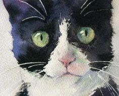Print Watercolor Painting Tuxedo Black Cat Art micky