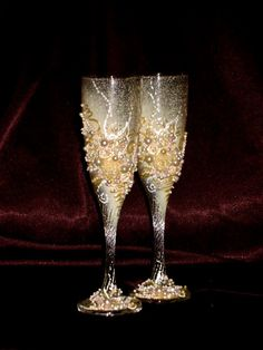 Hand decorated wedding champagne glasses elegant by PureBeautyArt, $54.00