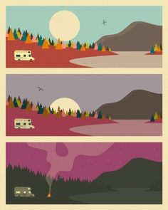 Retro style illustration of caravan camping in the woods split into three sections throughout the day, ending with a campfire. Campfire Wall Art by Jazzberry Blue from Great BIG Canvas Framed Prints, Canvas Prints, Art Prints, Solar System Art, Canvas Frame, Big Canvas, Camping In The Woods, Face Illustration, Mountain Art