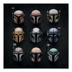 Shop Mandalorians Helmets Poster created by starwars. Images Star Wars, Star Wars Pictures, Tableau Star Wars, Dragon Rey, Chasseur De Primes, Star Wars Helmet, Cuadros Star Wars, Mandalorian Cosplay, Star Wars Bounty Hunter