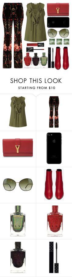 """Velvet pants"" by juliehalloran ❤ liked on Polyvore featuring Miss Selfridge, Roberto Cavalli, Yves Saint Laurent, Tom Ford, Polaroid, Gucci and NARS Cosmetics"