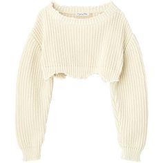 ニット ❤ liked on Polyvore featuring tops, sweaters, shirts, crop, cropped sweaters, shirt top, shirt sweater, cut-out crop tops and white cropped sweater