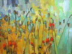 'Meadow's Edge' 30x40 1200.00 jillvansickle.com   paintings, artwork, decor, colorful, floral