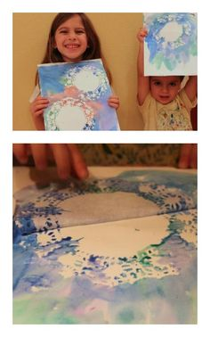 Doily Snowflake Painting - Use watercolors and pull up the doilies to reveal beautiful snowflakes!
