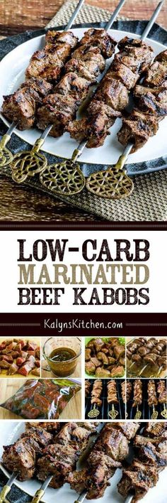 Low-Carb Marinated Beef Kabobs are a delicious idea for summer grilling, or cook this on a stove-top grill pan or George Foreman Grill if it's not grilling season. And this tasty kabobs recipe is low-carb, Keto, low-glycemic, and with correct ingredient choices it can easily be South Beach Diet friendly, gluten-free, Paleo, or Whole 30 approved! [found on KalynsKitchen.com]