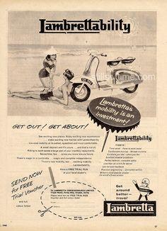 "LAMBRETTA 1960 Scooter Beach Art Ad, ""Lambrettability"" from London"