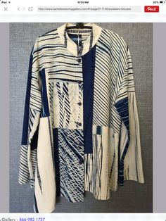 Indigo shibori blouse.  Santa Fe Weaving Gallery. Saved for Deb to see and to go to SFWG site/look under jackets-nice