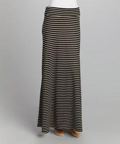 This Black & Ecru Stripe Maxi Skirt is perfect! #zulilyfinds