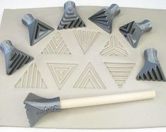 Pottery texturing ceramic clay tools: Rélyéf set of isosceles triangle stamps 30