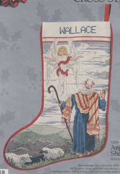 "Cross Stitch Christmas Stocking Kit ""Angel and Shepherd"" Sheep-Religious-- RARE in Crafts, Cross Stitch, Cross Stitch Kits | eBay"