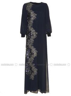 Nakış Detaylı Abiye Elbise - Lacivert - Arıkan