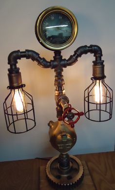 Steampunk Lamp Light Industrial Art Machine Age by PipeLightArt, $599.00