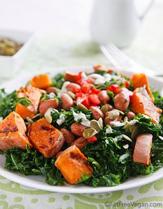 Massaged Kale Salad with Sweet Potatoes and Pumpkin Seed Dressing. It's fall, but in a salad. What could be better than that?