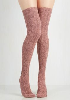Carte Banff Thigh Highs in Rose. On your first day in Alberta, what should you do? #red #modcloth