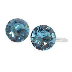 Clip On Earrings, Stud Earrings, Pierced Earrings, Crystal Rhinestone, Swarovski Crystals, I Give Up, Aquamarine Blue, Pearl Jewelry, Light Blue