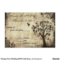 Vintage Tree Wedding RSVP with Green Text 3.5x5 Paper Invitation Card