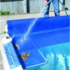 Poolmaster Pool Cover Catch will allow you to sweep or hose the collected leaves and debris into the cover catch instead of into your pool. Above Ground Pool, In Ground Pools, Piscine Diy, Solar Pool Cover, Pool Storage, Backyard Pool Landscaping, Landscaping Ideas, Backyard Ideas, Pool Care