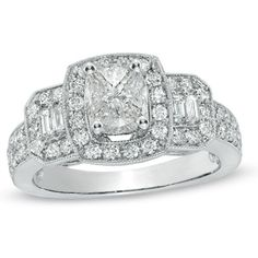 1-1/3 CT. T.W. Composite Cushion-Cut Diamond Three Stone Frame Ring in 14K White Gold - Zales