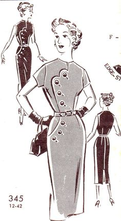 Vintage Sewing Pattern 1950s Mail Order Patt-O-Rama 345 Sheath Dress with Scallop and Button Detail Size 18 Bust 38