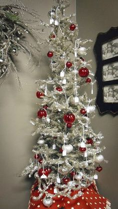 A Silver And Red Charlie Brown Christmas Tree.