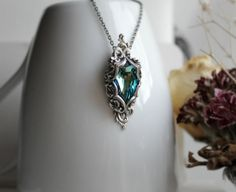 Lady of the Ocean Aged Silver and Swarovski Necklace - Blue - Aqua - Silver - Victorian - Fantasy - Water - Summer - Bridal