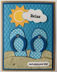 "Homemade Cards Discover Handmade ""Flip Flop"" Birthday Card Beach Summer Birthday Sand Handmade ""Flip Flop"" Birthday Card Beach Summer Birthday Sand by JuliesPaperCrafts on Etsy Karten Diy, Beach Cards, Cricut Cards, Shaker Cards, Handmade Birthday Cards, Kids Birthday Cards, Cute Cards, Flip Cards, Creative Cards"