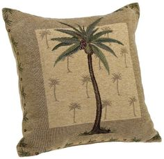 Brentwood Originals Panama Jacquard Chenille 18-by-18-inch Decorative Pillow, Palm Tree.  List Price:$19.99  Buy New:$14.99  You Save:25%  Deal by: SmartPillowShoppers.com