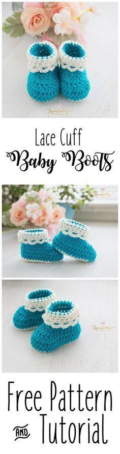 Lace Cuff Crochet Baby Boots + Free Pattern, Baby Shoes + Tutorial, Crochet Socks, Crochet for Babies https://bellanblue.com