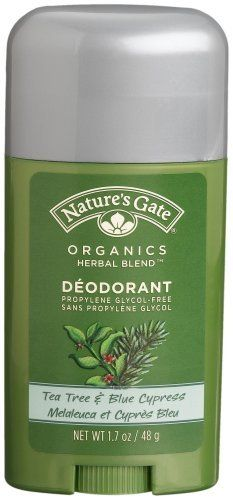 Nature's Gate  Deodorant, Tea Tree & Blue Cypress, 1.7-Ounce Sticks (Pack of 4) by Nature's Gate. $17.52. 100% free of paraben, aluminum chlorohydrate, and propylene glycol; biodegradable and certified vegan. Hypo-allergenic formula leaves no residue behind. 100% natural, 70% certified organic, vegetable-derived ingredients. Clean scent of tea tree with naturally antiseptic benefits of blue cypress. Offers non-irritating, gentle, effective protection. Stick deodorant. Ce...