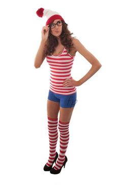 Where's Wally and Wanda. This would be so easy, nike shorts and stripe things from American apparel