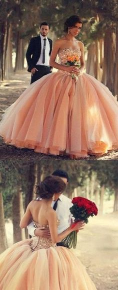 Blush Pink Tulle Wedding Dresses Ball Gown Sweetheart Bridal Gowns With Rhinestones Quinceanera Dresses