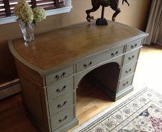 SOLDUpdated Leather Top Desk by WisteriaAve on Etsy, $350.00