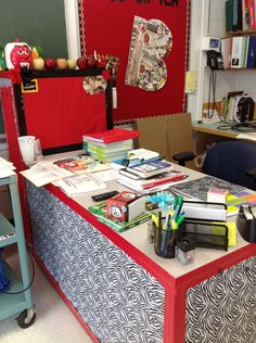 Teacher desk redone- duct tape and fabric!!