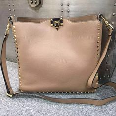 Valentino 84499 Large Grained Calfskin Rockstud Crossbody Bag