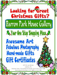 December exhibit opening on Thursday, December 3rd! We know you've been looking for affordable original art, for LaBelle postcards, gift cards for loved ones, interesting jewelry, glasswork, professional pictures of local landmarks and that perfect painting to hang in the living room. We got you covered!  Visit us at the #BarronParkHouseGallery  located at 471 N Lee Street, LaBelle on Thursdays, Fridays and on weekends 12 noon to 5:00 pm !