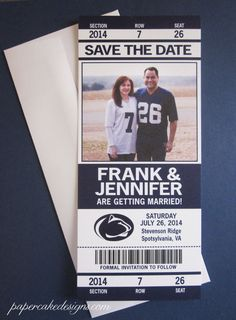 #Football #Wedding Save the Date Ticket / Penn State