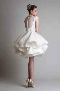 krikor jabotian 2016 New Cheap Short Wedding Dresses Jewel Neck Cap Sleeves Illusion Lace Appliques Ball Gown Tiered Ruffles Bridal Gowns - Prom Dresses Design Wedding Dress Black, Black Bridesmaid Dresses, Bridal Dresses, Wedding White, Cocktail Wedding Dress, Cocktail Dresses, Bridesmaid Ideas, White Bridal, Pretty Dresses
