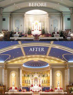 We also create new interior and exterior design solutions. Old Catholic Church, Catholic Altar, Roman Catholic, Catholic Churches, Sacred Architecture, Church Architecture, Religious Architecture, Church Interior Design, Church Design