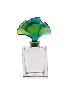 "Art glass perfume bottle. From the Arum Collection. Topped with a gingko stopper. 4.6""T. Handcrafted in France."