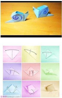 Simple Origami Snail  origami escargot