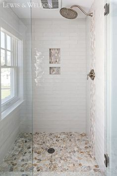 Shower Tile hand-made White Crackled ceramic Tile. Shower Tile hand-ma… Shower Tile hand-made White Crackled ceramic Tile. Shower Tile hand-made White Crackled tile glossy, hand-painted appearance and irregular edges add to its rich, old-world look. Pebble Shower Floor, White Tile Shower, River Rock Shower, Small Tile Shower, Master Bathroom Shower, Bathroom Showers, Master Bathrooms, Neutral Bathroom, Small Bathrooms