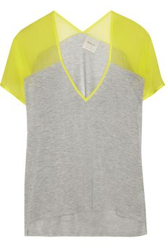 MASON BY MICHELLE MASON, Jersey and silk-crepe T-shirt in grey and neon yellow (via net-a-porter.com, $205)