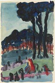 Georgia O'Keeffe, THE PARK AT NIGHT, 1918, watercolor on paper, private collection. Provenance Robert Miller Gallery, New York Bill Dean, New York, 1986 Barbara Mathes Gallery, New York Acquired by the present owner from the above, 1987