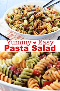 Our favorite summer side! EASY PASTA SALAD Our favorite summer side! EASY PASTA SALAD,Easy Pasta Recipes Easy Pasta Salad features tri-color rotini studded with diced olives and pimentos in a zesty homemade Italian dressing. Pasta Salad Ingredients, Easy Pasta Salad Recipe, Best Pasta Salad, Pasta Salad Italian, Easy Pasta Recipes, Simple Pasta Salad, Pasta Salad Recipes Cold, Rotini Pasta Recipes, Salads