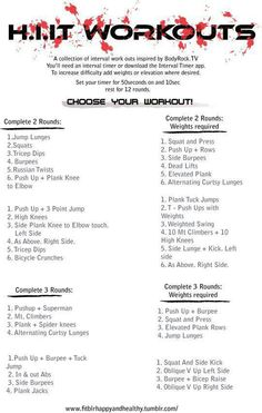 Pick your workout