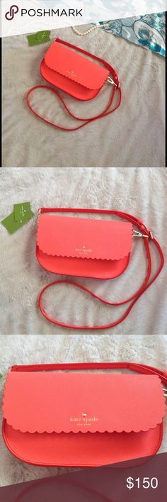 OPEN OFFERS  NWT Kate Spade Cape Drive Jettie Constructed from colorful double-faceted leather & featuring a scallop-edged, snap-close flap, the Kate Spade Cape Drive Jettie is roomy enough for your essentials & an amazing coral color for the season. Adjustable strap. Interior slide pocket. Brand new, never used. Comes w/ dust bag & all tags (note some not in English - see last pic), care card. kate spade Bags