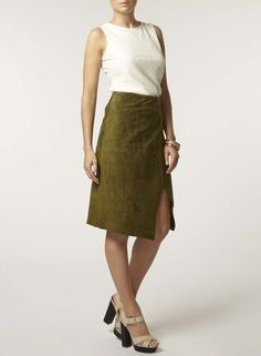 Premium Khaki Suede Wrap Skirt - Dorothy Perkins