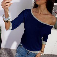 2017 ניו האביב סקסי כתף כבויה מקרית Loose נשים שרוול ארוך החולצה Tees T חולצות צבעים נשים בתוספת גודל חולצה